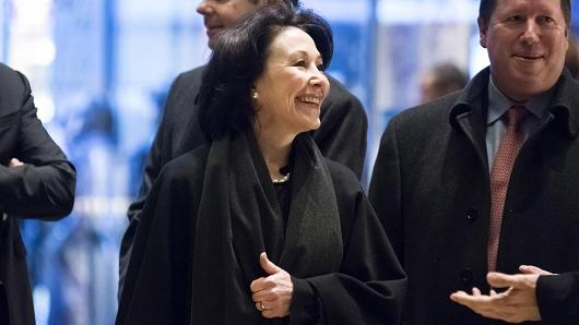 Safra Catz, chief executive officer of Oracle, arrives at Trump Tower in New York, on Wednesday, Dec. 14, 2016.