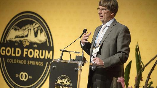 Michael 'Mick' McMullen, chief executive officer of Stillwater Mining Co., speaks during the Denver Gold Forum (DGF) in Colorado Springs, Colorado, U.S., on Monday, Sept. 19, 2016.
