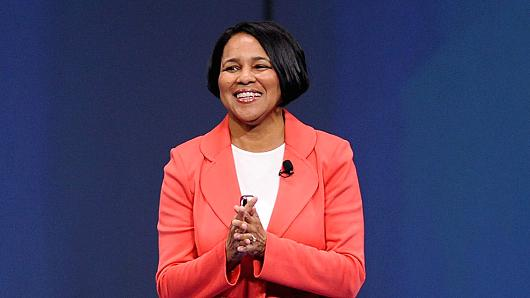 Rosalind 'Roz' Brewer, president and chief executive officer of Sam's Club, speaks during the Wal-Mart Stores Inc. annual shareholders meeting in Fayetteville, Arkansas.