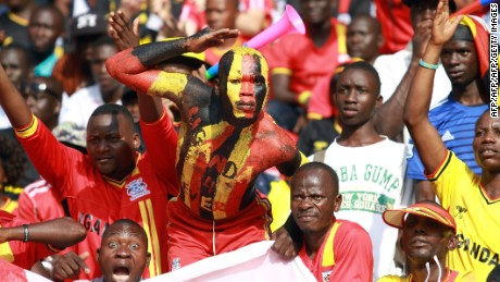 Uganda fans during a 2018 World Cup qualifying football match against the Republic of Congo in Brazzaville.