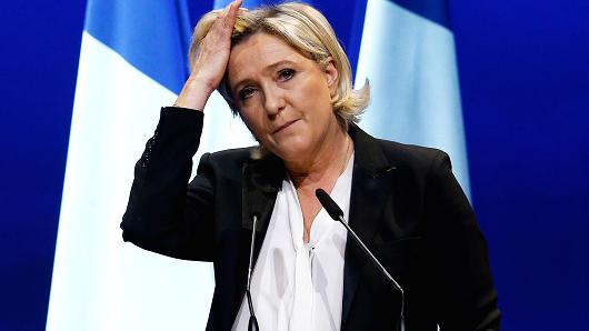 Marine Le Pen, French National Front (FN) political party leader and candidate for French 2017 presidential election, at a political rally in Saint-Herblain near Nantes, France, February 26, 2017.