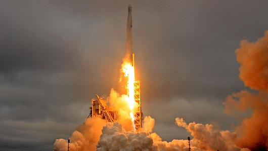 A SpaceX Falcon 9 rocket lifts off on a supply mission to the International Space Station from historic launch pad 39A at the Kennedy Space Center in Cape Canaveral, Florida, February 19, 2017.