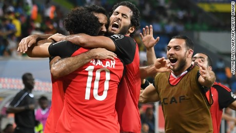 Egypt's players celebrate El Said's winning goal.
