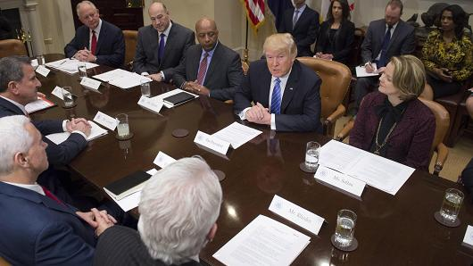 President Donald Trump meets with retail industry leaders in the Roosevelt Room of the White House in Washington, DC on February 15, 2017.