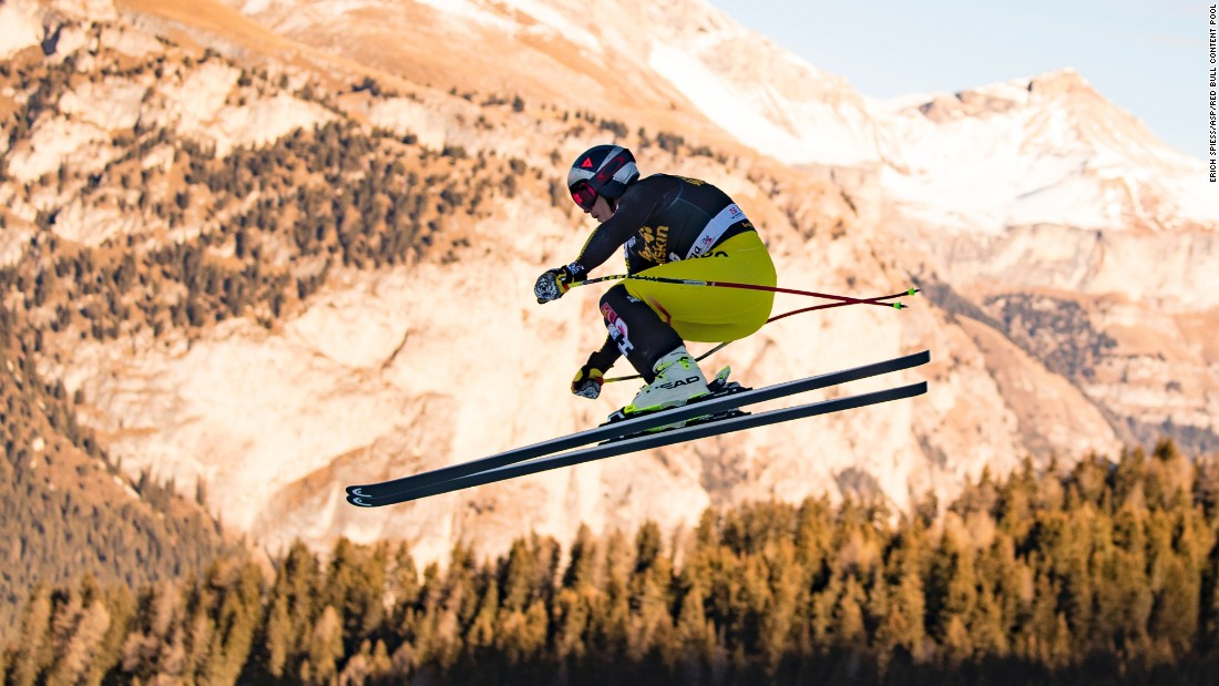Erik Guay soars through the Val Gardena sky when the World Cup went to Italy in December.