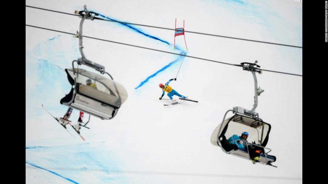 Norway's Leif Kristian Haugen loses his balance during the men's giant slalom race  in Adelboden, Switzerland.