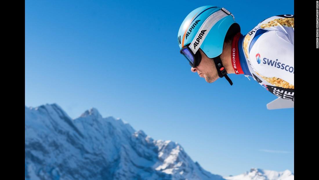 Switzerland's Patrick Kueng prepares himself for a training run ahead of the men's downhill race in Wengen, Switzerland.