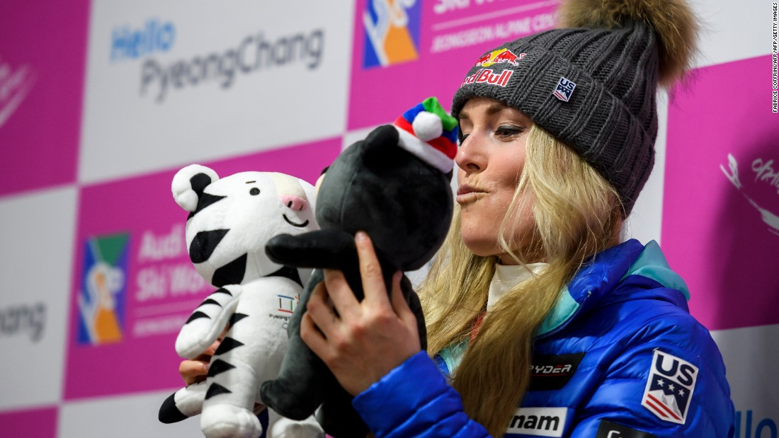 """Lindsey Vonn, one of the biggest names in skiing, has had a tumultuous season after <a href=""""http://cnn.com/2016/11/11/sport/lindsey-vonn-broken-arm/"""">breaking her arm</a> in November. She has made an impressive return, claiming the <a href=""""http://cnn.com/2017/01/21/sport/lindsey-vonn-wins-garmisch-partenkirchen-downhill-skiing/"""">77th World Cup win of her career</a> in Garmisch-Partenkirchen, Germany. Here, Vonn poses with the two Pyeongchang 2018 Winter Games mascots ahead of the tour visiting Jeongseon, South Korea."""