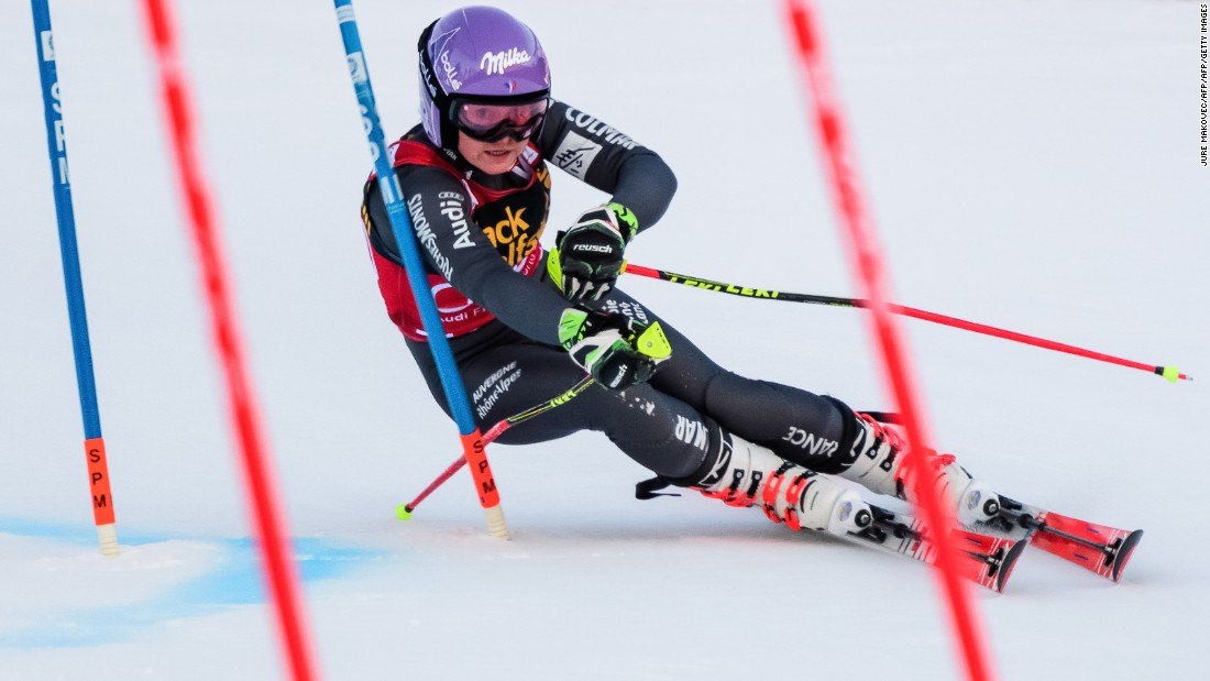 """France's <a href=""""http://cnn.com/2017/01/06/sport/tessa-worley-mikaela-shiffrin-french-army-skier/"""">Tessa Worley</a> competes in the first run of Giant Slalom race in Maribor, Slovenia, in January."""