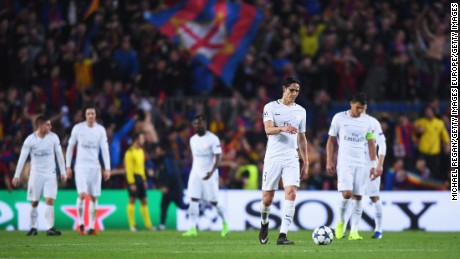 PSG players look dejected after Barca secure a remarkable win.