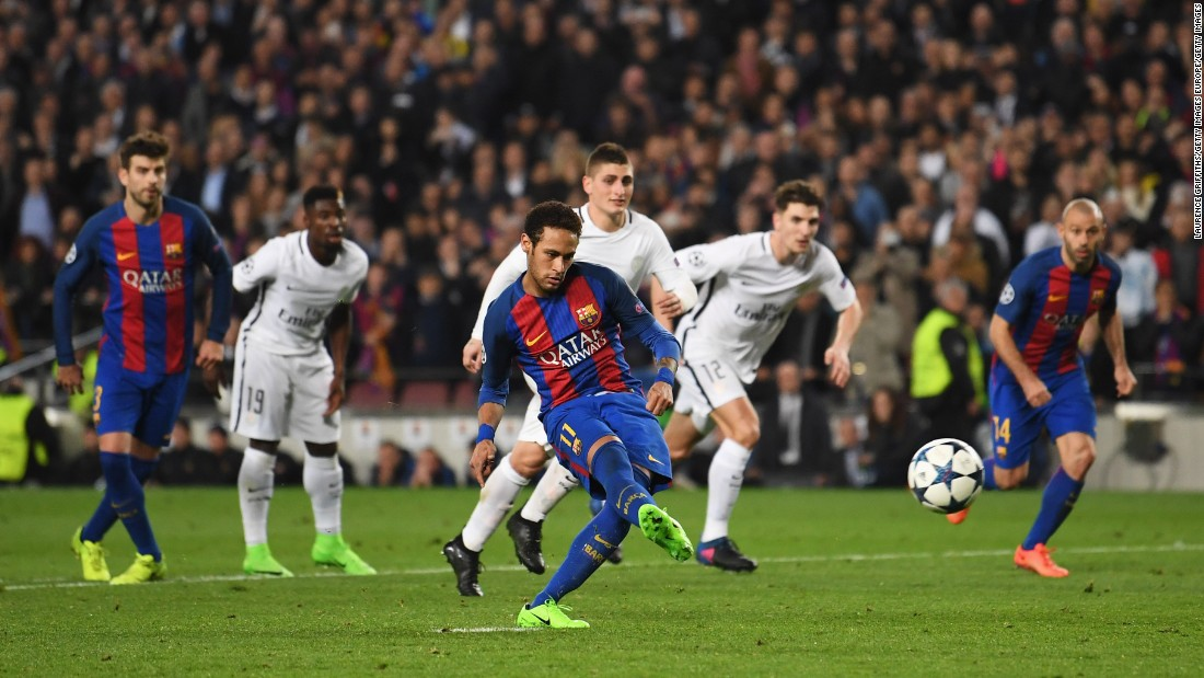 Suddenly Barcelona had the chance to make it 5-1 on the night and 5-5 on aggregate. Neymar made no mistake, setting up a grandstand finish.
