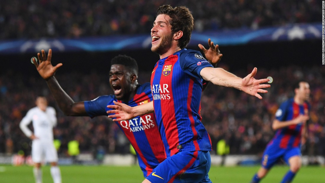 "Barcelona had the PSG players staggering back onto the ropes and, with more or less the final kick of the game, Sergi Roberto scored the goal that would <a href=""http://edition.cnn.com/2017/03/08/football/barcelona-psg-reactions/"">reverberate around the world.  </a>"