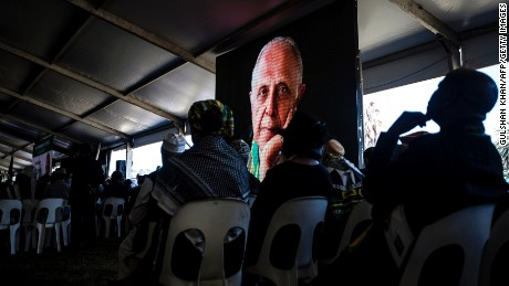 People attend Ahmed Kathrada's funeral on March 29 in Johannesburg.