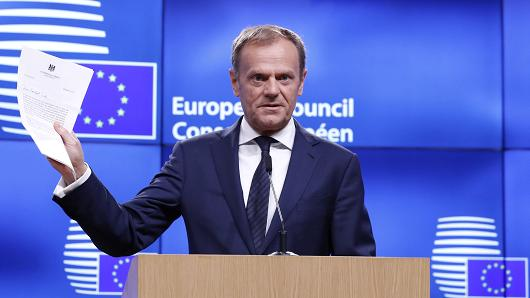 European Council President Donald Tusk holds a news conference after receiving British Prime Minister Theresa May's Brexit letter in notice of the UK's intention to leave the bloc under Article 50 of the EU's Lisbon Treaty to EU Council President Donald Tusk in Brussels, Belgium March 29, 2017.