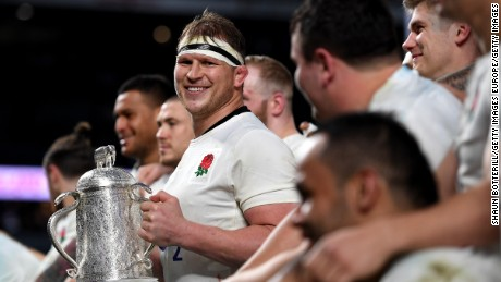 "England coach Eddie Jones said captain Dylan Hartley (pictured) would keep the players' ""feet on the ground"""