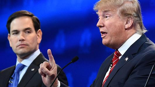 Sen. Marco Rubio looks on as Donald Trump speaks during the CNBC GOP Primary Debate in Boulder, Co. on Oct. 28th, 2015.