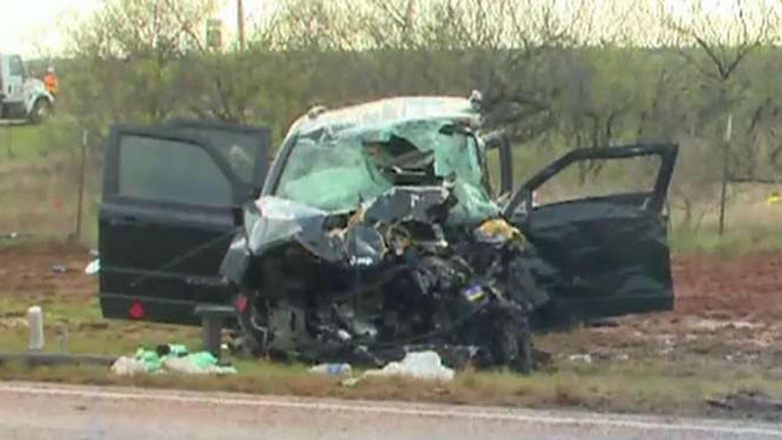 Cars collided as the men were tracking a powerful storm system
