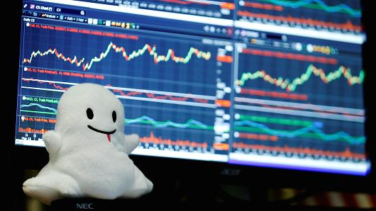 A stuffed ghost rests on a trader's screen above the floor of the New York Stock Exchange (NYSE) after Snap Inc. listed their IPO in New York, U.S., March 2, 2017.