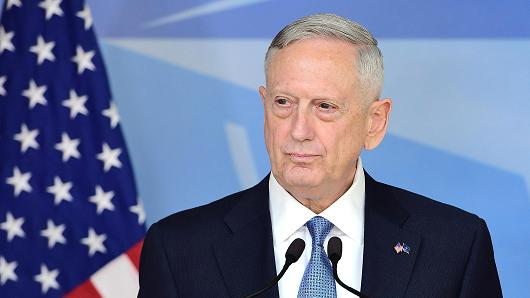 Defence Minister James Mattis addresses the press during a NATO defence ministers' meetings at the NATO headquarters in Brussels on February 15, 2017.
