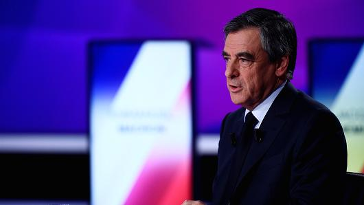 French presidential election candidate for the right-wing Les Republicains (LR) party Francois Fillon takes part in a special political TV show entitled '15mn to convince' at the studios of French television channel France 2 in Saint-Cloud, west of Paris, on April 20, 2017, a few days ahead of the first round of the presidential election.