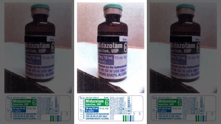FILE - This combination of file photos shows one of the three drugs that the Arkansas Department of Correction (ADC) purchased to perform several executions. The top photo, provided by the ADC, shows a bottle of Midazolam, with the manufacturer's information blacked out by the ADC. The bottom photo, provided by the U.S. Food and Drug Administration, shows the label for Midazolam. Arkansas has executed three inmates in the past week using midazolam, a sedative that's been the subject of multiple court challenges since it was first used by Florida in 2013. (Arkansas Department of Correction/FDA via AP, File)