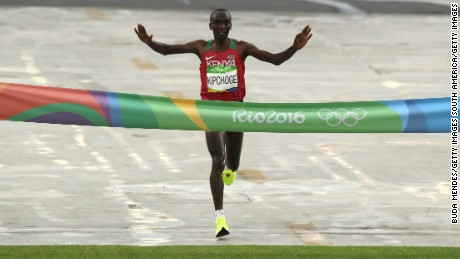 Kipchoge wins gold at last year's Rio Olympics
