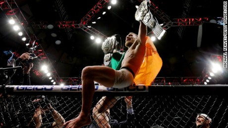 McGregor celebrates his KO victory over Eddie Alvarez in UFC 205 at Madison Square Garden