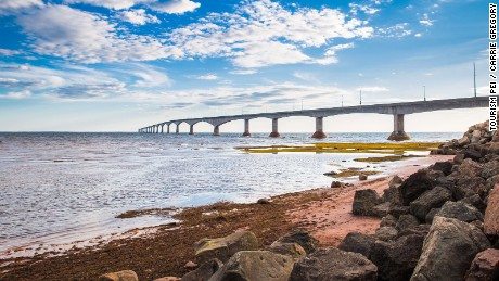 Confederation Bridge connects PEI to mainland New Brunswick.