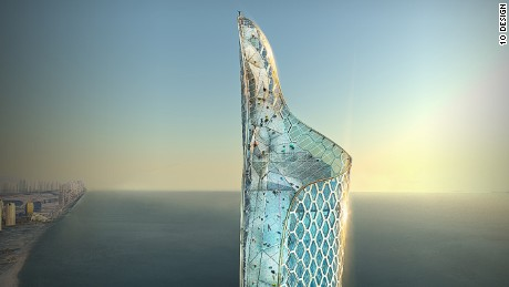 10 Design say the tower's interior will feature climbing walls and a professionals-only BASE jump platform at its peak.