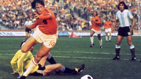Cruyff reached the 1974 World Cup final with the Netherlands, who were lauded for their 'Total Football' style, but were beaten 2-1 by West Germany