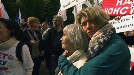 Novitskaya at the Moscow protest.