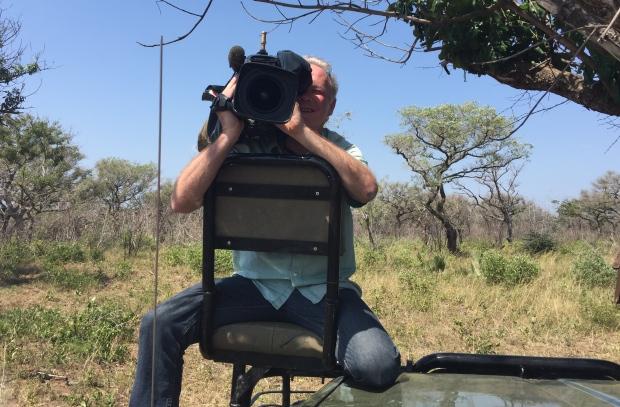 Cameraman Richard Devey filming in Kruger National Park