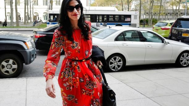 FILE - In this Nov. 2, 2016 file photo, Huma Abedin is seen in the Brooklyn borough of New York. A person familiar with the investigation into Hillary Clinton's use of a private email server says Abedin did not forward