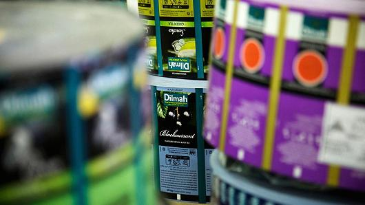 Rolls of labels on the production line at the MJF Holdings' Dilmah Tea headquarters in Peliyagoda, Colombo, Sri Lanka.
