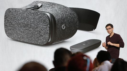 Clay Bavor, VP of Virtual Reality for Google, introduces the Daydream View VR headset during the presentation of new Google hardware in San Francisco, California, U.S. October 4, 2016.