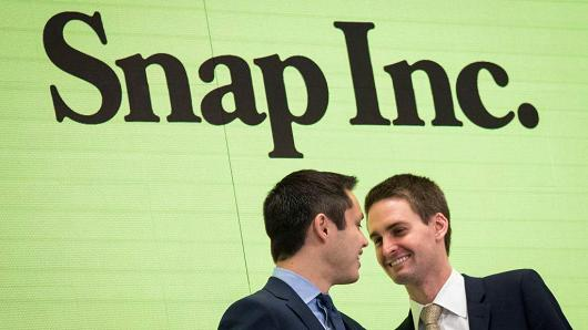 Snapchat co-founders Bobby Murphy and Evan Spiegel at the New York Stock Exchange (NYSE), March 2, 2017 in New York City.