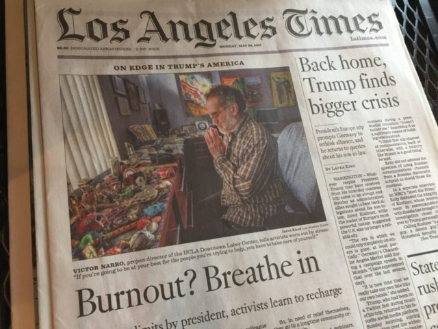 L.A. Times front page at Starbucks (Joel Pollak / Breitbart News)