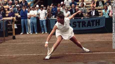 Australian tennis player Margaret Court is pictured playing in 1971.