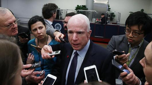 John McCain (R-AZ) fields questions from reporters on the resignation of Michael Flynn and the Trump administrations connection to Russia, on Capitol Hill Feb. 15, 2017