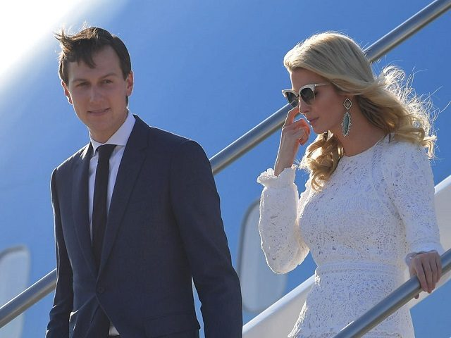 Ivanka Trump, daughter of US President Donald Trump, her husband Jared Kushner, senior adviser to Trump step off Air Force One upon arrival at Rome's Fiumicino Airport on May 23, 2017. Donald Trump arrived in Rome for a high-profile meeting with Pope Francis in what was his first official trip to Europe since becoming US President. / AFP PHOTO / MANDEL NGAN (Photo credit should read MANDEL NGAN/AFP/Getty Images)