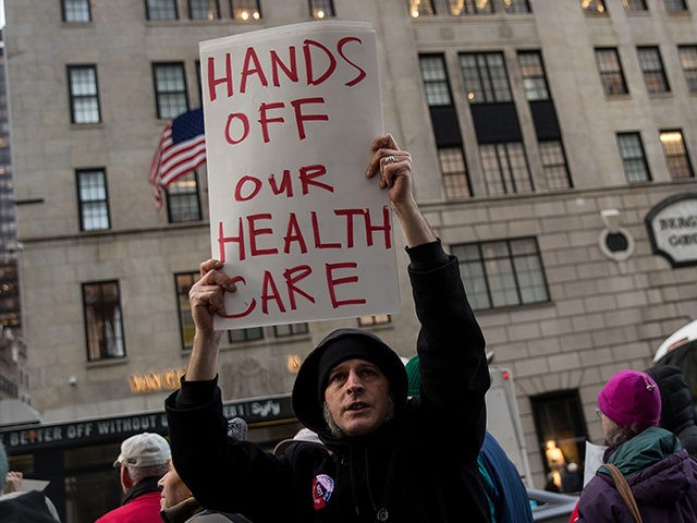 NEW YORK, NY - JANUARY 13: Health care activists rally down the street from Trump Tower to 'declare healthcare a human right,' near Trump Tower, January 13, 2017 in New York City. The annual National Single-Payer Strategy Conference will be taking place this weekend in New York. (Photo by Drew Angerer/Getty Images)