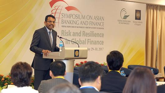 Ravi Menon, managing director of the Monetary Authority of Singapore, speaks at the 2017 Symposium on Asian Banking and Finance.