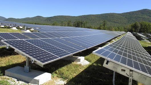 A portion of the Stafford Hill solar power project gathers energy from the sun in Rutland, Vt., on Tuesday, Sept. 15, 2015. With the completion of the project developed by Green Mountain Power, Vermont's largest electric utility, the city of Rutland claimed it has more solar capacity, 7.8 megawatts, per capita than any other city in the New England region.