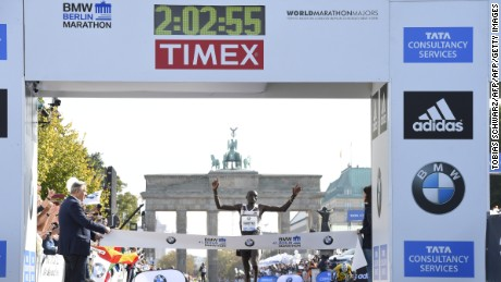 Kenya's Dennis Kimetto sets the current marathon world record in 2014.
