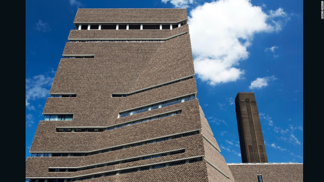 "<a href=""https://www.herzogdemeuron.com/index.html"" target=""_blank"">Herzog & de Neuron</a> extended the <a href=""http://www.tate.org.uk/visit/tate-modern"" target=""_blank"">Tate Modern</a> with over 220,000 square feet of new exhibition space. Reminiscent of a twisted pyramid, the building is lined with parallel strips of bricks."