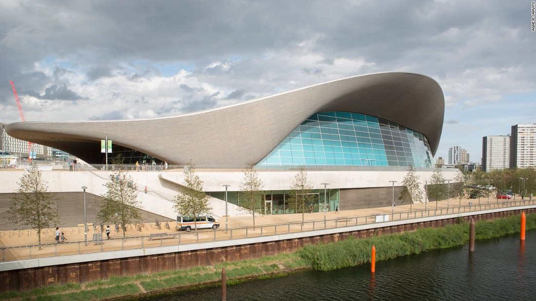 "<a href=""http://www.londonaquaticscentre.org/"" target=""_blank"">The London Aquatics Centre</a>, designed by Zaha Hadid Architects, has a 11,200-square-foot steel roof in the shape of a wave. Two colossal glass walls maximumize natural light inside and offer views of the Olympic Park."