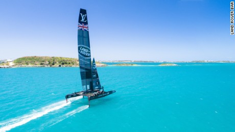 Land Rover BAR in America's Cup training during a practice run in Bermuda.