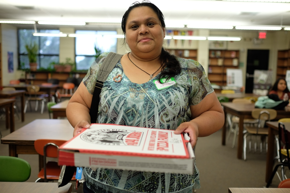 Woman with Pizza Box