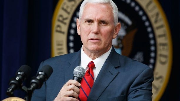 FILE- In this April 4, 2017, file photo, Vice President Mike Pence speaks during a town hall with business leaders in the South Court Auditorium on the White House complex in Washington. Pence is set to arrive Sunday, April 16, in South Korea as President Donald Trump vows that North Korea Kim Jong Un's government is a