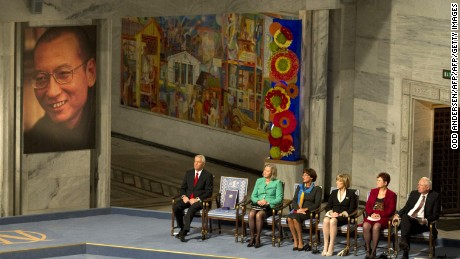 The Nobel Peace Prize committee attend the ceremony for Nobel laureate and dissident Liu Xiaobo at the city hall in Oslo, on December 10, 2010.